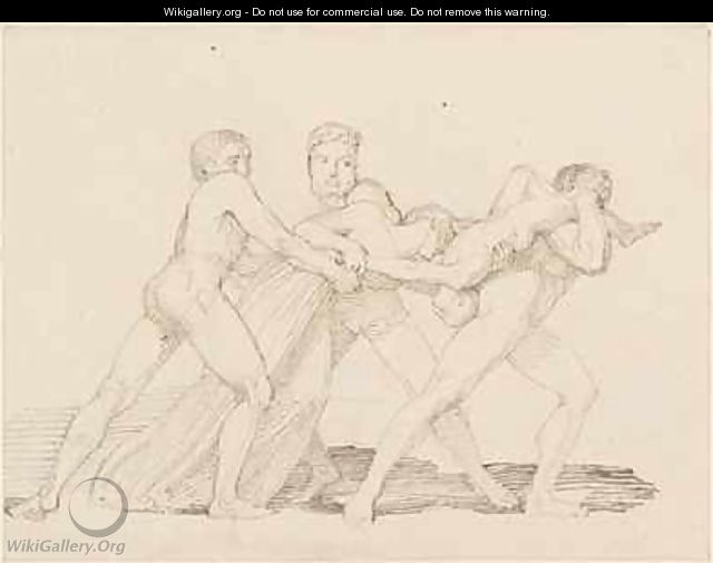 Three men attempting to tear a child from a woman - John Flaxman