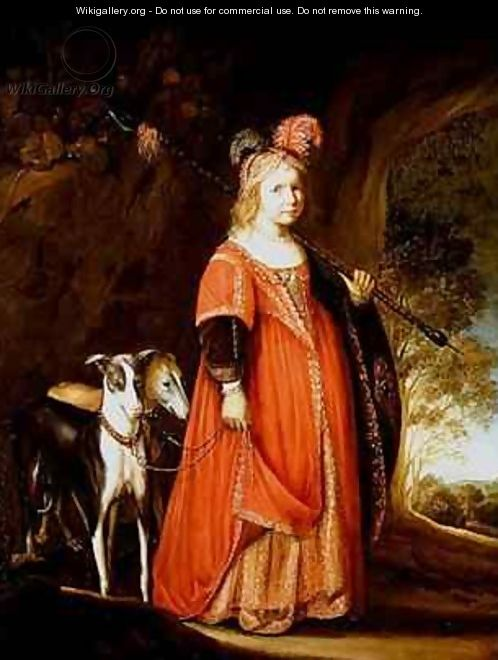Portrait of a young girl as Diana in a glade with two greyhounds - Govert Teunisz. Flinck