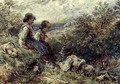 Children collecting eggs - Myles Birket Foster