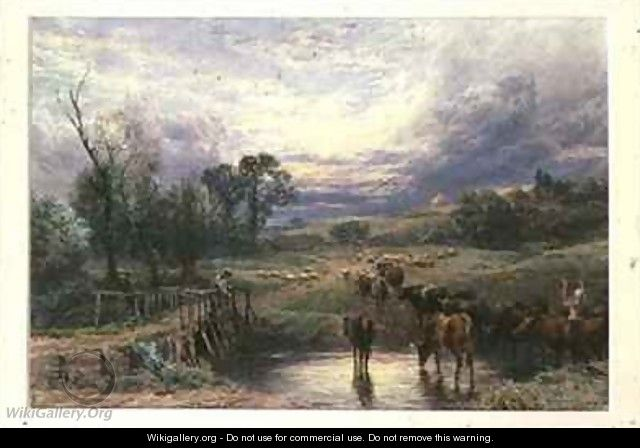 Landscape with Cattle and Bridge - Myles Birket Foster