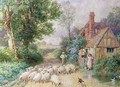 Shepherd and his flock passing a country cottage - Myles Birket Foster