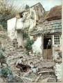 Young Girls At Rest On Cobbled Steps - Myles Birket Foster