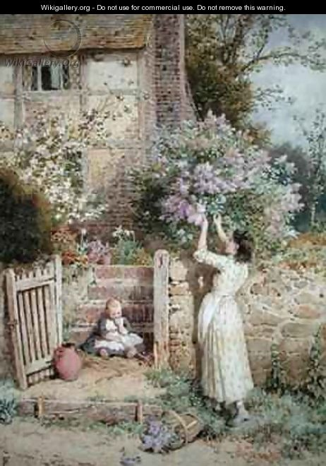 The Lilac Cottage - Myles Birket Foster
