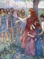 Will you follow me men Boadicea spiriting her men to fight her daughters beside her - A.S. Forrest