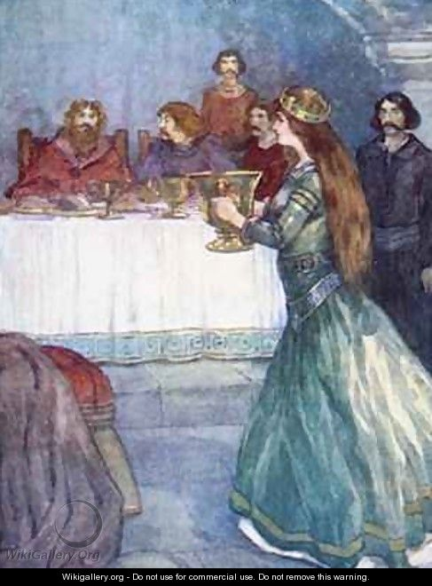 Rowena came into the room carrying a beautiful golden cup - A.S. Forrest