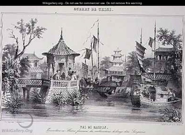View of Canton showing female sailors in their sampans from The War in China - G.C. de Fortavion