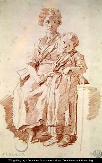 A Young Girl with her Sister - Jean-Honore Fragonard