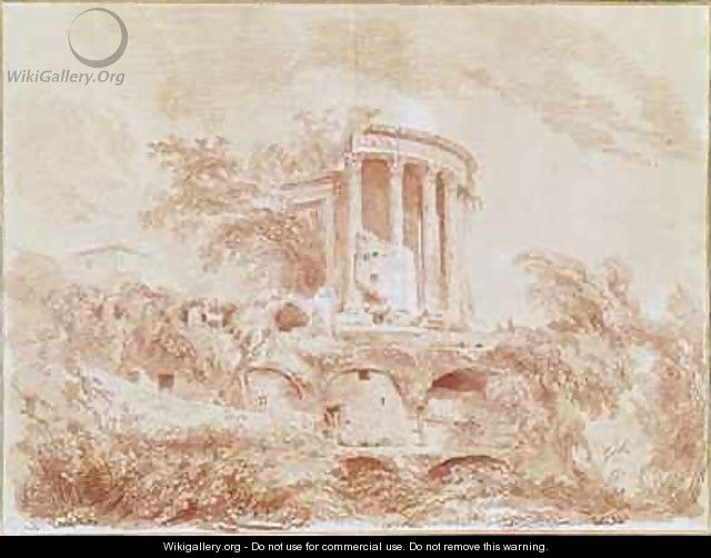 Temple of the Sybil at Tivoli - Jean-Honore Fragonard