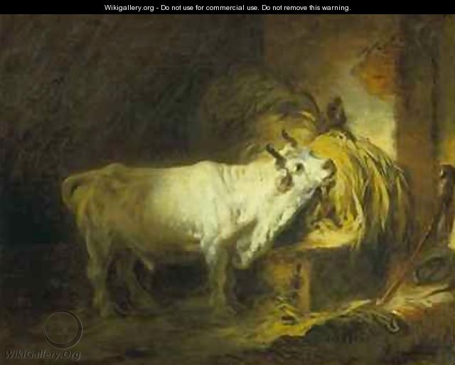 The White Bull in the Stable - Jean-Honore Fragonard