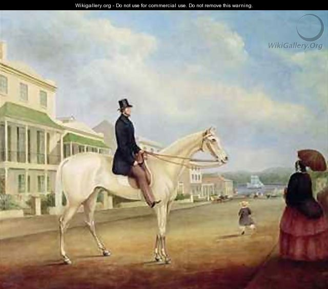Rider on a white horse probably in Macquarie Street North - Joseph Fowles