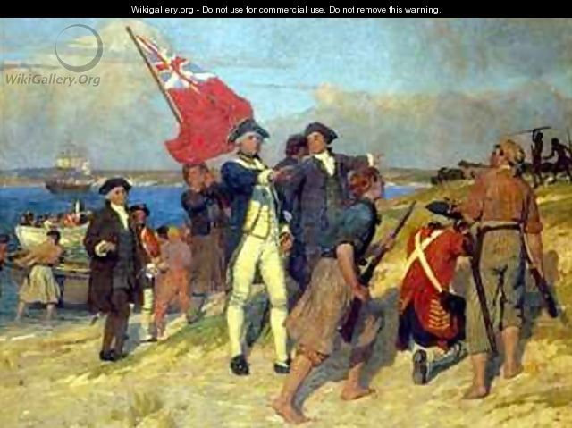 Landing of Captain Cook at Botany Bay in 1770 - Emanuel Phillips Fox