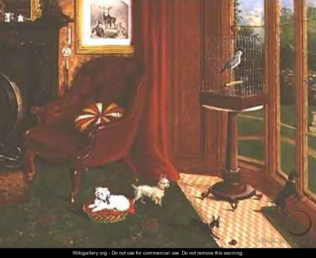 Interior with terriers and a parrot in a cage - E.M. Fox