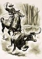 A cowboy ropes a steer from horseback with a lasso - Henry Charles Fox