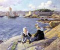 Breton Girls by the Harbour Concarneau - Alfred-Victor Fournier