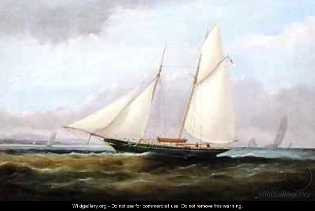 A Schooner Yacht under Easy Sail with her Foresail Lowered - Arthur Wellington Fowles