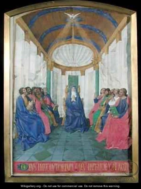 Pentecost from the Hours of the Cross and the Holy Spirit from the Hours of Etienne Chevalier - Jean Fouquet