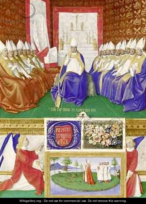 St Hilary of Poitiers Presiding over a Council from the Hours of Etienne Chevalier - Jean Fouquet