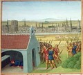 Ms Fr 6465 fol 57 King Clothar II 584-629 cannot bring back his son Dagobert I 605-39 to Paris - Jean Fouquet