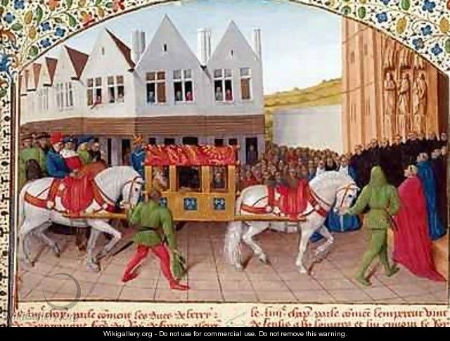 Arrival of Emperor Charles IV 1316-78 at the Basilica St Denis in 1378 - Jean Fouquet
