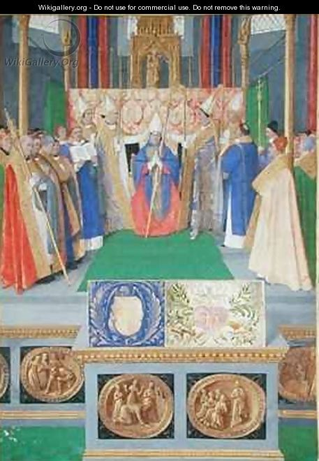 St Nicholas ordained as the Bishop of Myra from the Hours of Etienne Chevalier - Jean Fouquet
