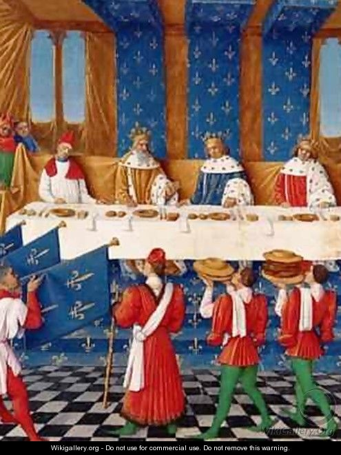 Banquet given by Charles V 1338-80 in honour of his uncle Emperor Charles IV 1316-78 in 1378 - Jean Fouquet