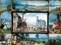 Composite of ten allegorical scenes of life in the town and country - Frans the younger Francken