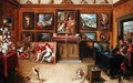 Picture Gallery with a Man of Science Making Measurements on a Globe - Frans the younger Francken