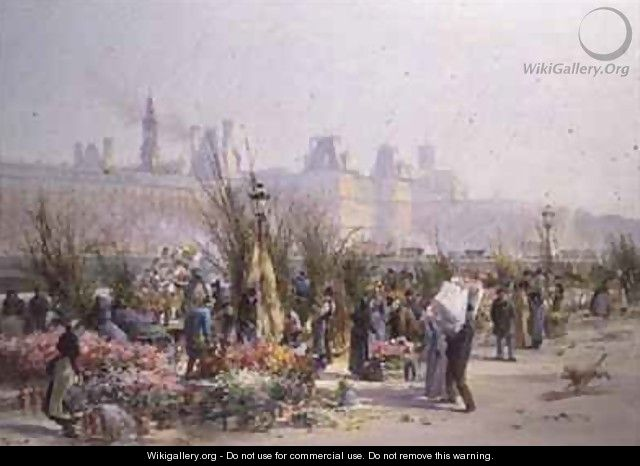 Flower Market by the Seine - Georges Fraipont