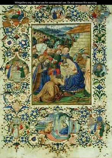 The Adoration of the Magi surrounded by medallions depicting episodes from the life of the Virgin and a prophet - d