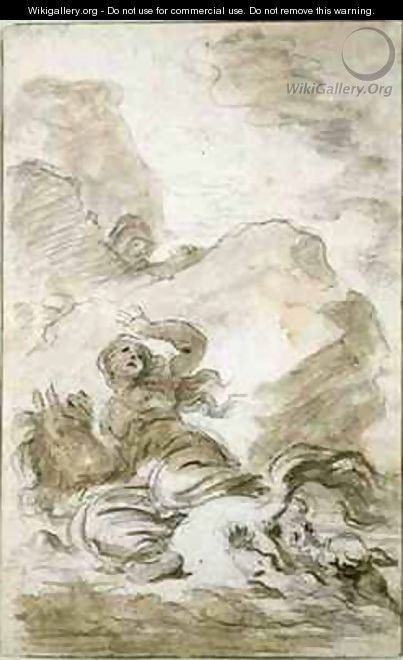 Angelica reaches the Shore Where the Hermit Lies in Wait - Jean-Honore Fragonard