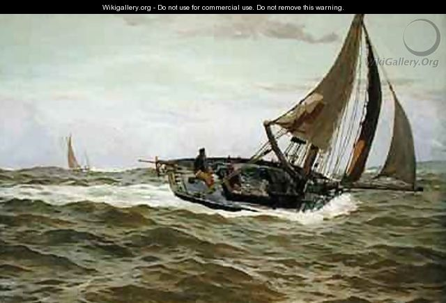 A Fishing Boat in a Stiff Breeze - John Fraser