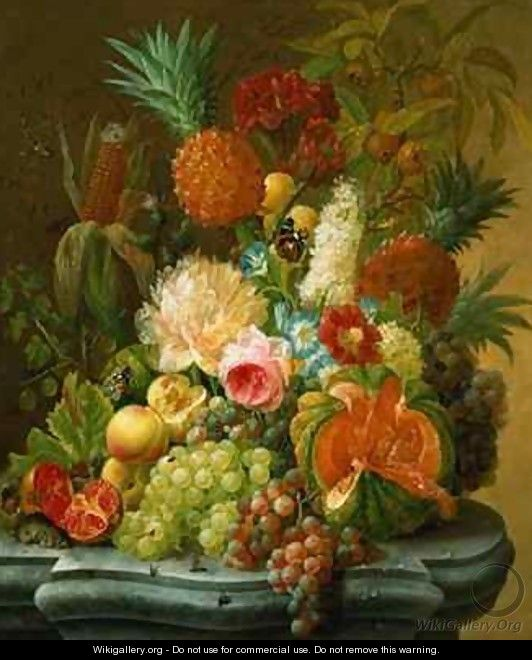 Still Life with a Melon and Grapes - Johannes Hendrick Fredriks