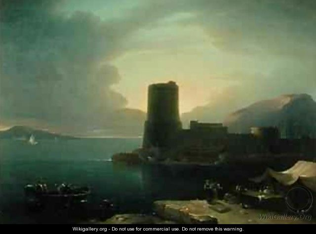 The Promontory of Posilipio in the Bay of Naples with Mount Vesuvius in the Background - Robert Freebairn