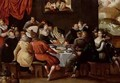 Elegant Figures Feasting and Disporting at a Table with the Last Judgement in the Background - Hieronymus II Francken