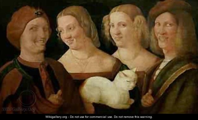 Four People Laughing at the Sight of a Cat - Niccolo Frangipane