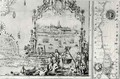 View of Quebec cartouche of a map depicting St Lawrence River from Sorel - Jean Baptiste Louis Franquelin