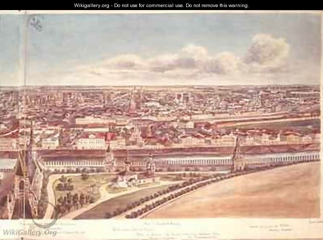 Panorama of Moscow depicting the Kremlin Walls and the Moskva River - Gadolle