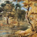Wooded Landscape with a Stream - Jacques Fouquieres
