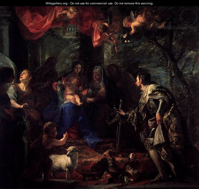 Virgin and Child Adored by St Louis, King of France - Claudio Coello