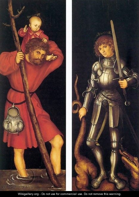 Sts Christopher and George (outer side) - Lucas The Elder Cranach