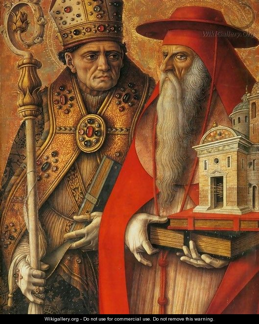 St Jerome and St Augustine (detail) - Carlo Crivelli