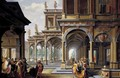 Architectural Capriccio with Jephthah and His Daughter - Dirck Van Delen