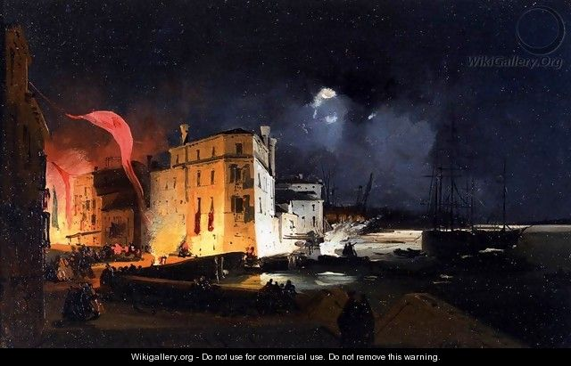 Nocturnal Celebrations in Via Eugenia at Venice - Ippolito Caffi