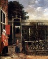 Woman with a Child Blowing Bubbles in a Garden - Hendrick Van Der Burch