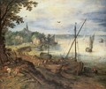 River Landscape with Lumbermen - Jan The Elder Brueghel