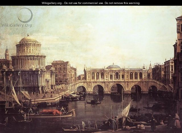 Capriccio The Grand Canal, with an Imaginary Rialto Bridge and Other Buildings - (Giovanni Antonio Canal) Canaletto