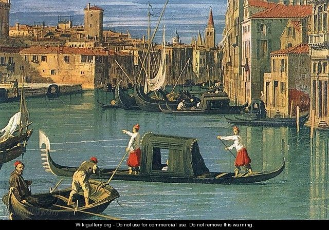 The Grand Canal and the Church of the Salute (detail) 2 - (Giovanni Antonio Canal) Canaletto