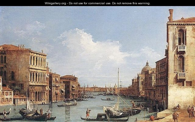 The Grand Canal from Campo San Vio towards the Bacino - (Giovanni Antonio Canal) Canaletto