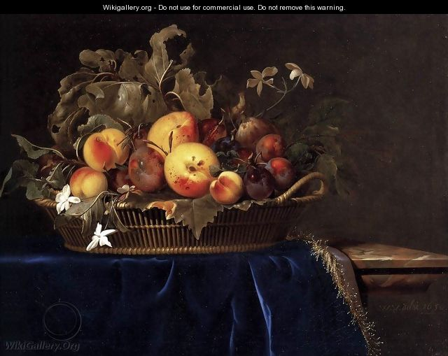 Still-Life with a Basket of Fruit on a Marble Ledge - Willem Van Aelst