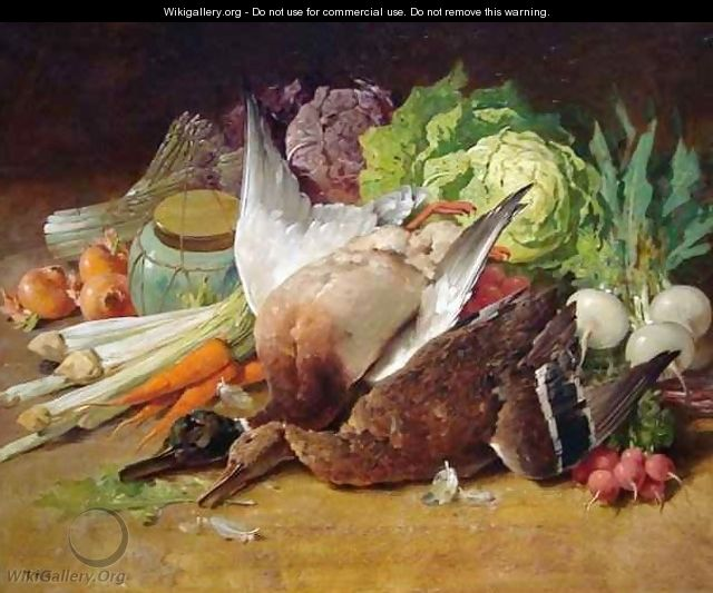 Still Life with Ducks and Vegetables - Thomas Hill